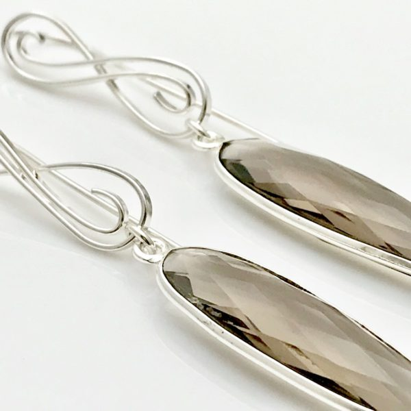 Smokey quartz gallery earrings up close