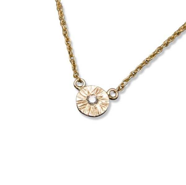 Textured disc pendant necklace with diamond