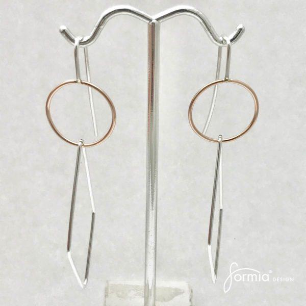 earrings rhombus earrings geometry shape silver and rose gold