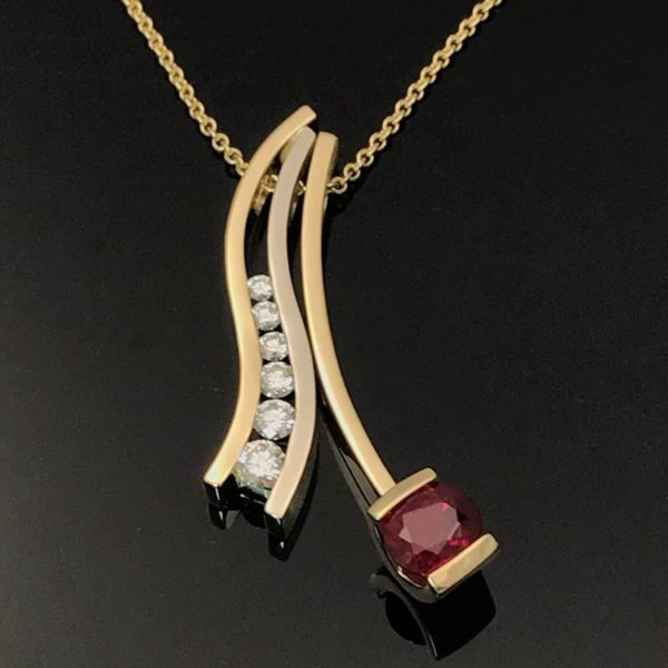 ruby pendant and channel diamonds combination collection