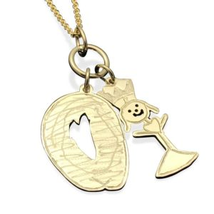Child art gold charm necklace, a top notch mom gift