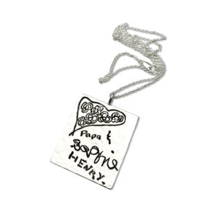 Custom engraved dog tag style pendant sterling silver design by your child