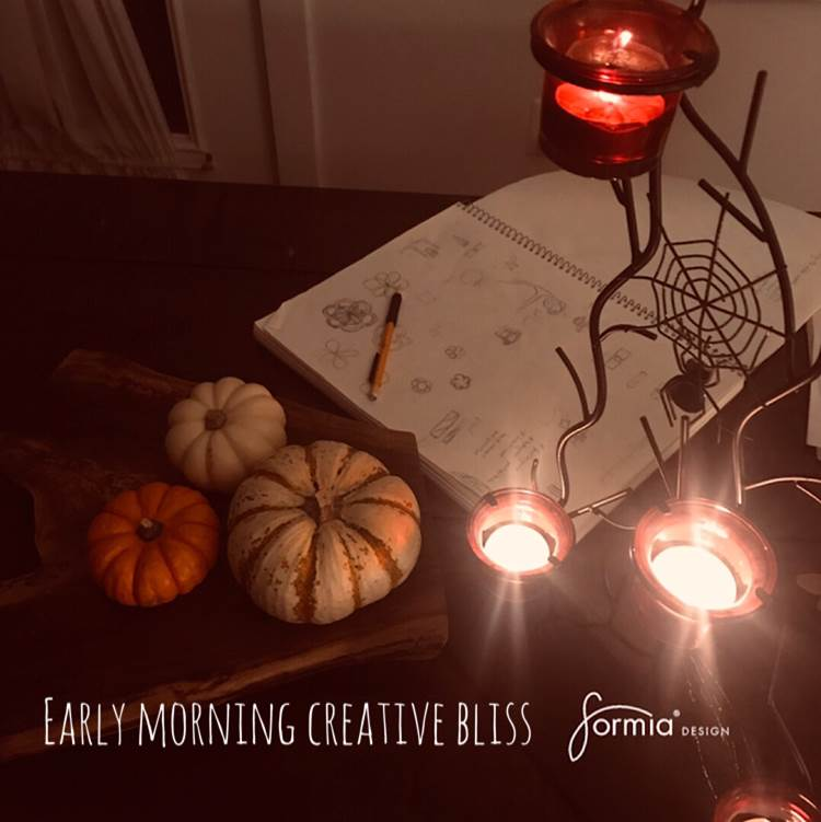 Early morning creative bliss, designing under candle light for the create your own