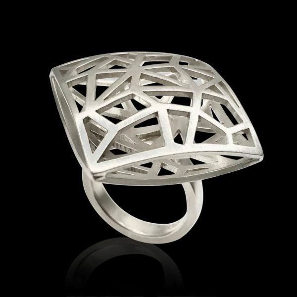 Geometry ring shadow collection of perfectly angled shapes in ring design