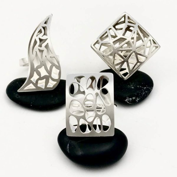 Shadow ring collection flame river rock and geometry