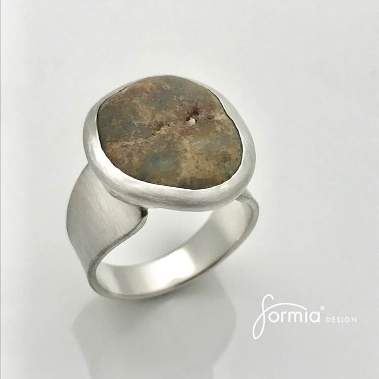 beach rock ring, small cobble stone in silver ring summer treasure, handmade in sterling silver to fit your special stone