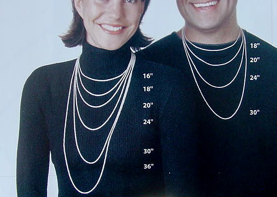 Jewelry sizing charts man & woman necklace sizing