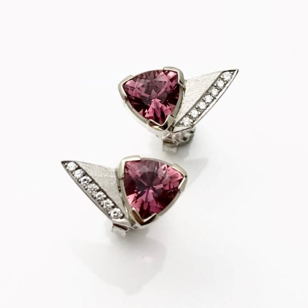 Trillion cut pink tourmaline earring studs white gold and diamonds