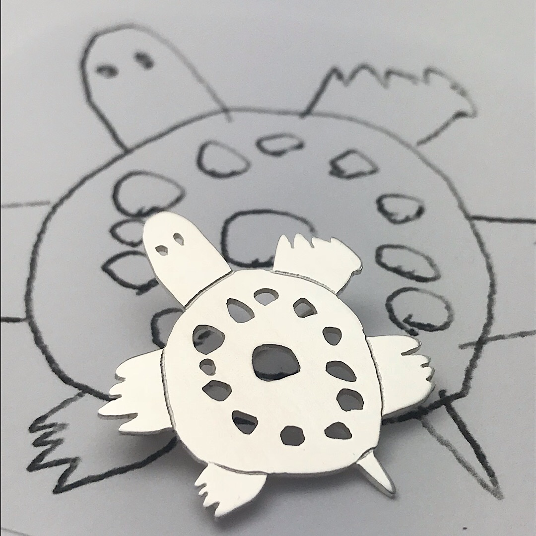 turtle art silver brooch for animal loving kids and their moms