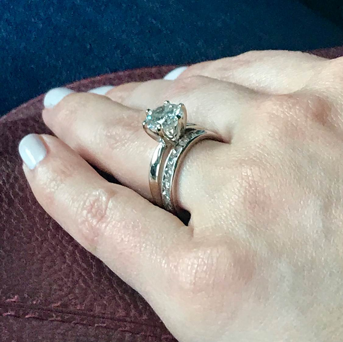 engagement ring complete with the wedding band