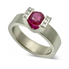 Ruby tension set ring , Brave ring design ruby and diamonds 14k white gold