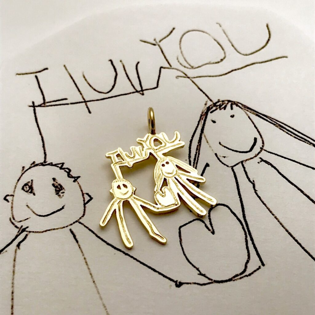 i luv you gold charm with stick figures